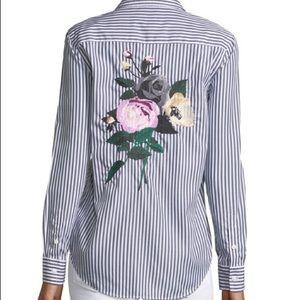 Equipment Brett Cotton Shirt Rose Embroidery L